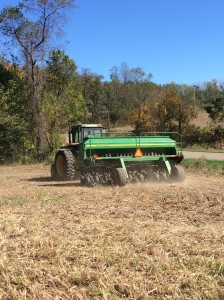 Here we are planting Rye for a cover crop.
